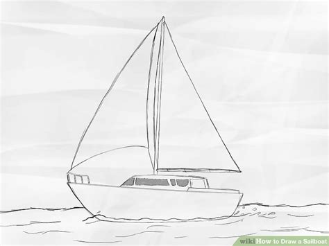 How To Draw A Keelboat by How To Draw A Sailboat 7 Steps With Pictures Wikihow