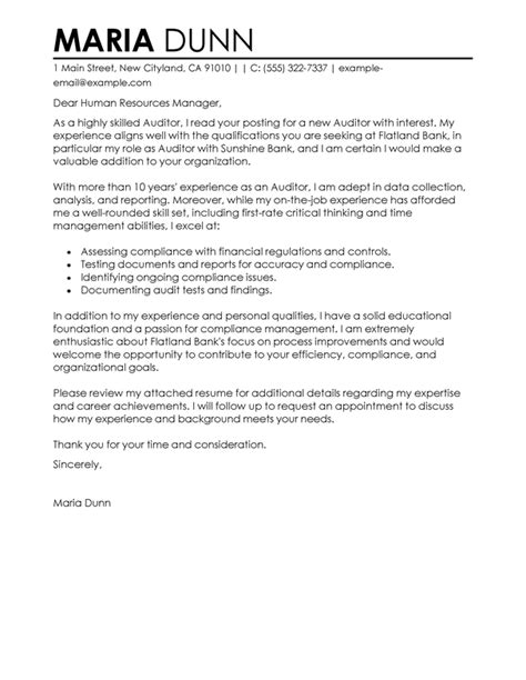 auditor sles cover letters livecareer