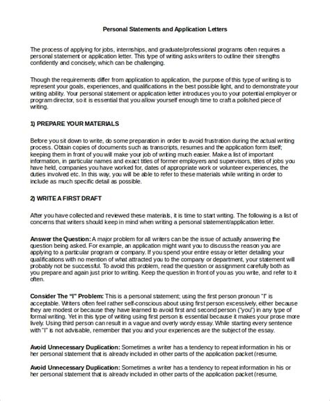 sample personal statement format  examples   word
