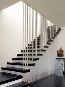 vertical rail staircase modern with floating stairs