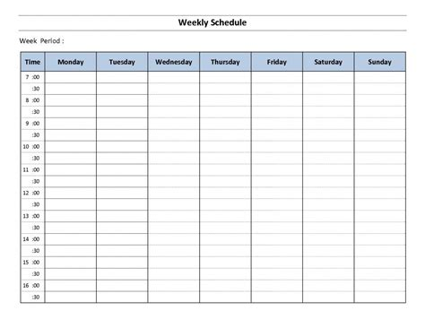 Hourly Schedule Template Weekly Hourly Schedule Template Shatterlion Info