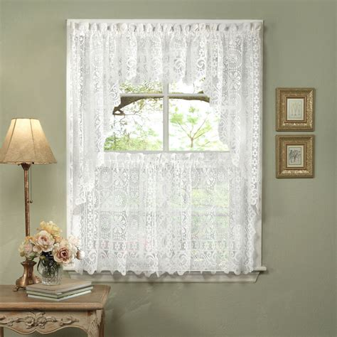 hopewell heavy white lace kitchen curtain choice  tier