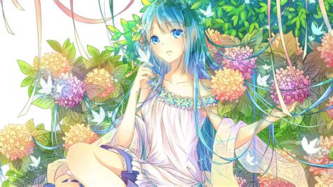 Download 1920x1080 Wallpaper Flowers And Cute Anime Girl