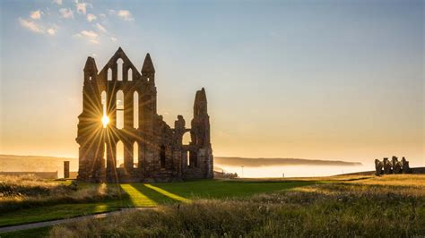 sunset  whitby abbey castle  england hd travel