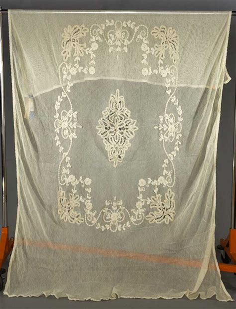 3 battenburg lace curtain panels