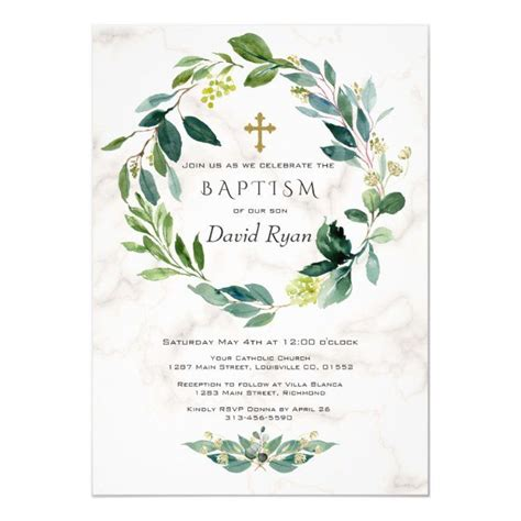 Green Leaves Wreath Cross Marble Boy Baptism Invitation