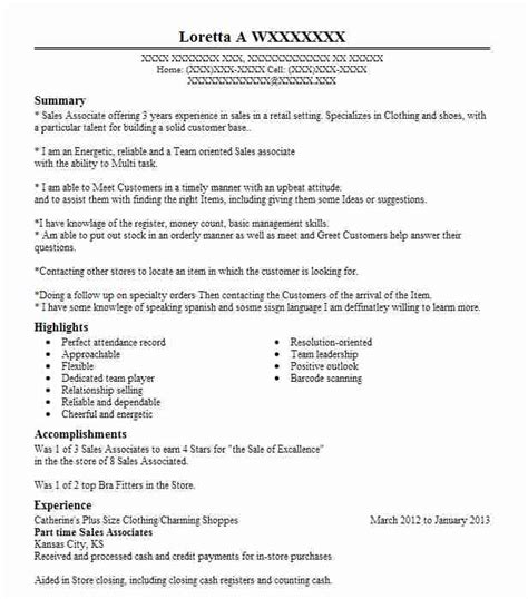 Part Time Resume by Best Part Time Sales Associates Resume Exle Livecareer