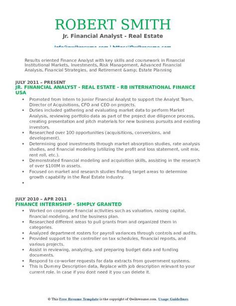 Junior Business Analyst Resume by Junior Financial Analyst Resume Sles Qwikresume