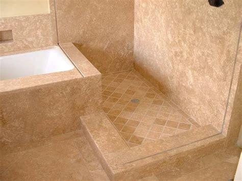 travertine shower floor  bathtub deck
