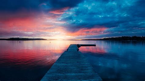 sunset lake scenery wallpapers hd wallpapers id