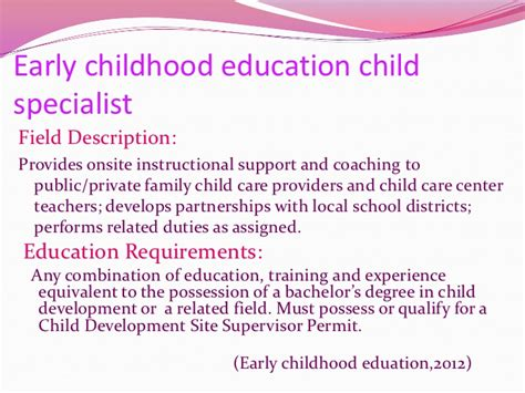 career possibilities  early childhood education