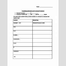 Rational And Irrational Numbers Worksheet Tpt
