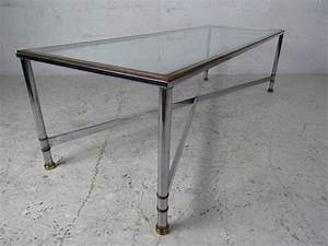 mid century modern chrome and glass rectangular coffee With glass chrome coffee table rectangle