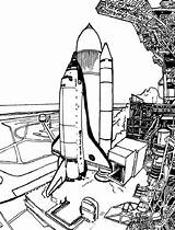 Coloring Launch Space Rocket Shuttle Spaceship Travel Template sketch template