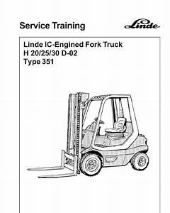 Linde Type 351 Lpg Forklift Truck  H20  H25  H30  H35