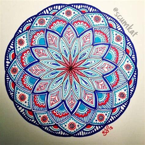 red  blue mandala mandala art mandala drawing