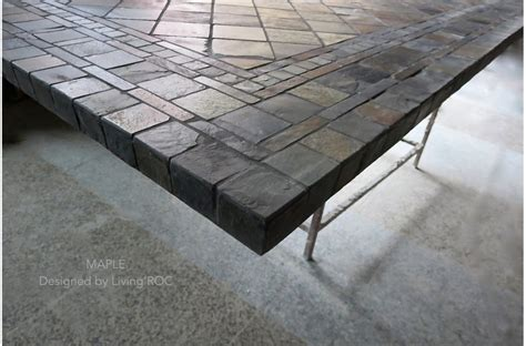 78 quot 94 quot outdoor slate mosaic dining table maple