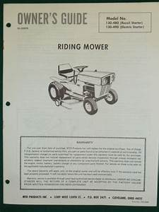 Vintage Mtd Riding Mower Owners Manual Parts List Model
