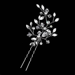 Austrian Crystal Leaf Wedding Hair Pin Elegant Bridal