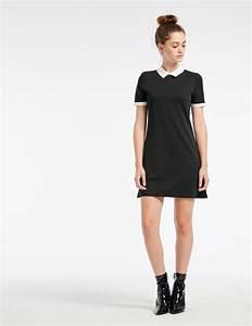 black dress with white collar woman o jennyfer With jennyfer robe longue