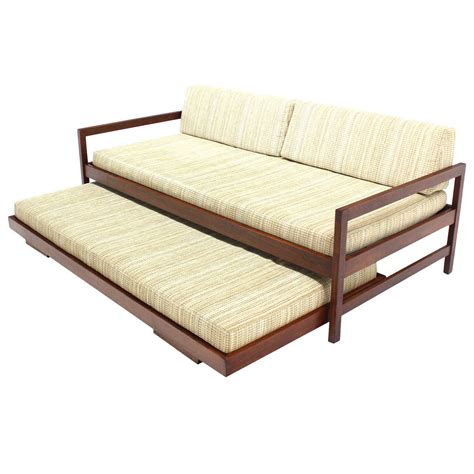 pull out mattress solid walnut frame mid century modern trundle pull out