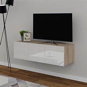 Lowboard Hängend Eiche : tv lowboard 120cm eiche sonoma hochglanz sideboard wandschrank fernsehschrank wohnwand ~ Buech-reservation.com Haus und Dekorationen