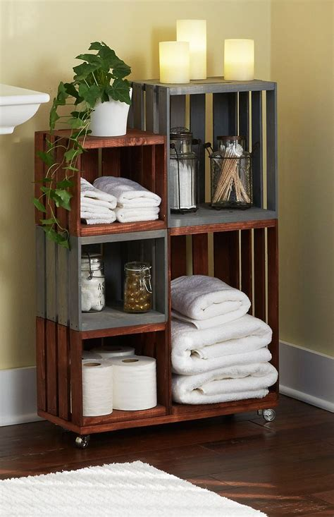 diy bathroom storage shelves   wooden crates