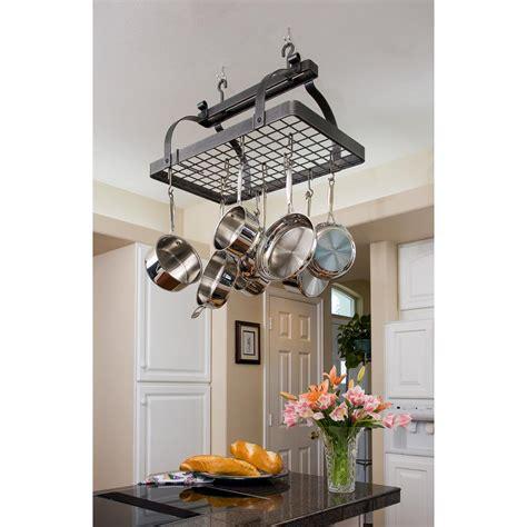 kitchen overhead pot racks enclume premier classic rectangle ceiling pot rack in
