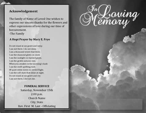 funeral program acknowledgements sample
