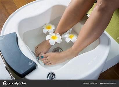 Pedicure Vrouw Voeten Manicure Serie Kom Haar