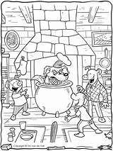 Coloring Wolf Bad Pigs Three Pages Colouring Printable Story Template Cauldron Activities Pig Chimney Printables Preschool Kindergarten Sketch Sooty Sweep sketch template