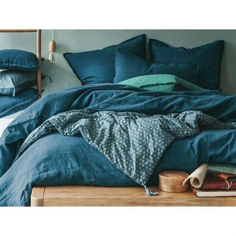 couette lavé bleu canard linge de lit
