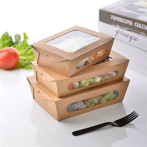 box cuisine mensuel 3 size kraft paper salad box disposable water proof