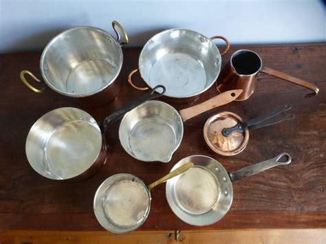 batterie de cuisine small batterie de la cuisine of re tinned copper pans and pots at 1stdibs