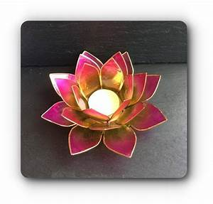 Pink  Green Lotus Flower Tea Light Holder