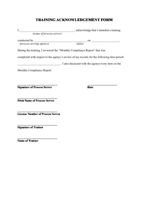 top training acknowledgement form templates free to in pdf format