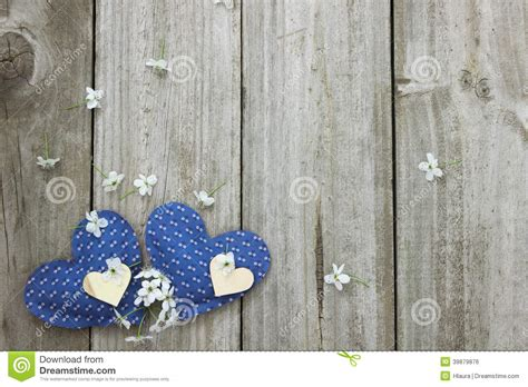 blue  wood hearts  spring blossoms border wooden