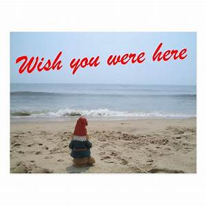 Gnome wish you were here postcard zazzle for Wish you were here postcard template