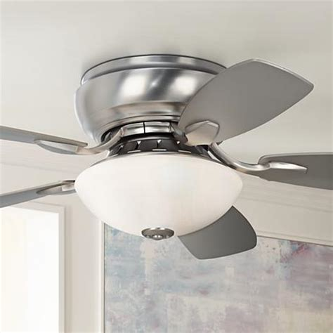 low profile ceiling fans for small rooms 44 quot casa habitat brushed steel hugger ceiling fan 00819