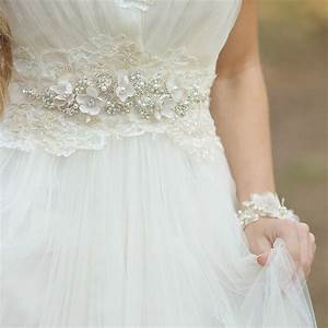 bridal sash champagne crystal wedding dress belt by With lace wedding dress with belt