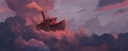 Ship Clouds Fantastic Monitor Sail Sky Ultrawide