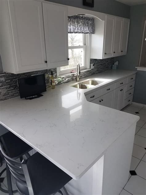 lg viatera willow white quartz countertops  wall caps
