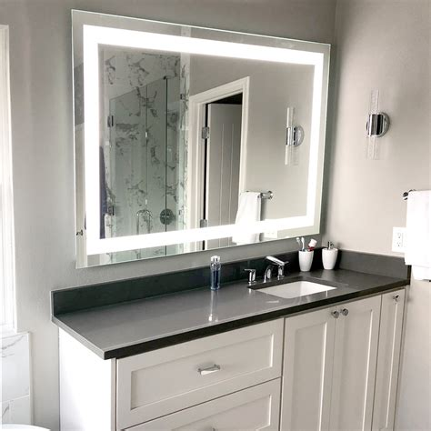 front lighted led bathroom vanity mirror
