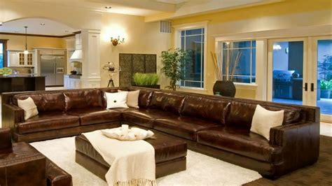 living room decorating ideas  brown leather sectional