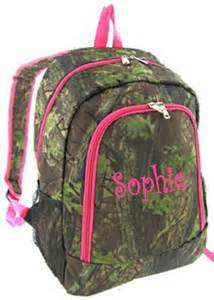 SALE Personalized Girls Backpack - Canvas Booksack Mossy Oak Pattern Camo Monogrammed FREE Pink Trim