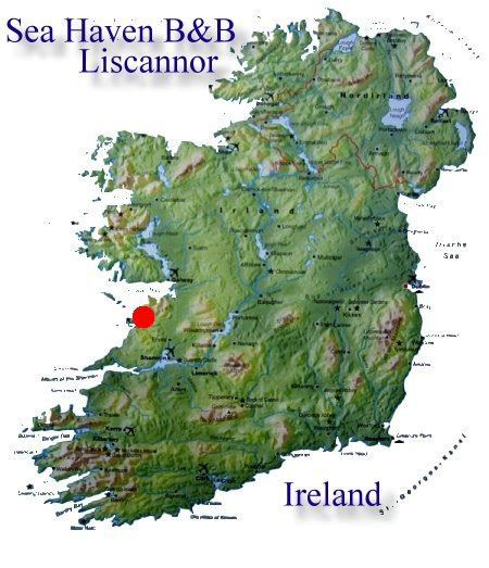 Location of Cliffs of Moher in Ireland Map