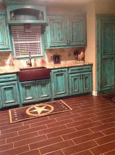 rustic teal kitchen cabinets home decor turquoise