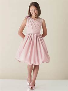pink junior bridesmaid dresses pink knee length satin With junior dresses for wedding