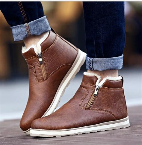 Mens Boots Winter Ankle Fashion Classic Cotton Padded