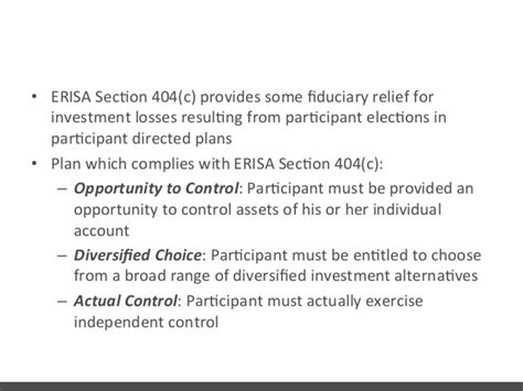 erisa section 404 c retirement plans attack by plan participants and